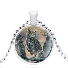 2020 New Silver Color OWL Glass Dome Metal classic Necklace Vintage Men and Women Jewelry Gift