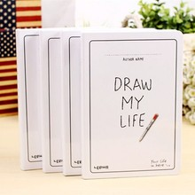 Draw My Life Korea Stationery Blank Notebook A5 Sketchbook Simple Thicken Planner Diary Sketch Book Graffiti Hand-paint Notepad
