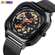 Skmei Mode Mechanische Horloge Mannen Automatische Horloge Quartz Waterdicht Hollow Art Strainless Stalen Band Montre Homme 9184 Klok