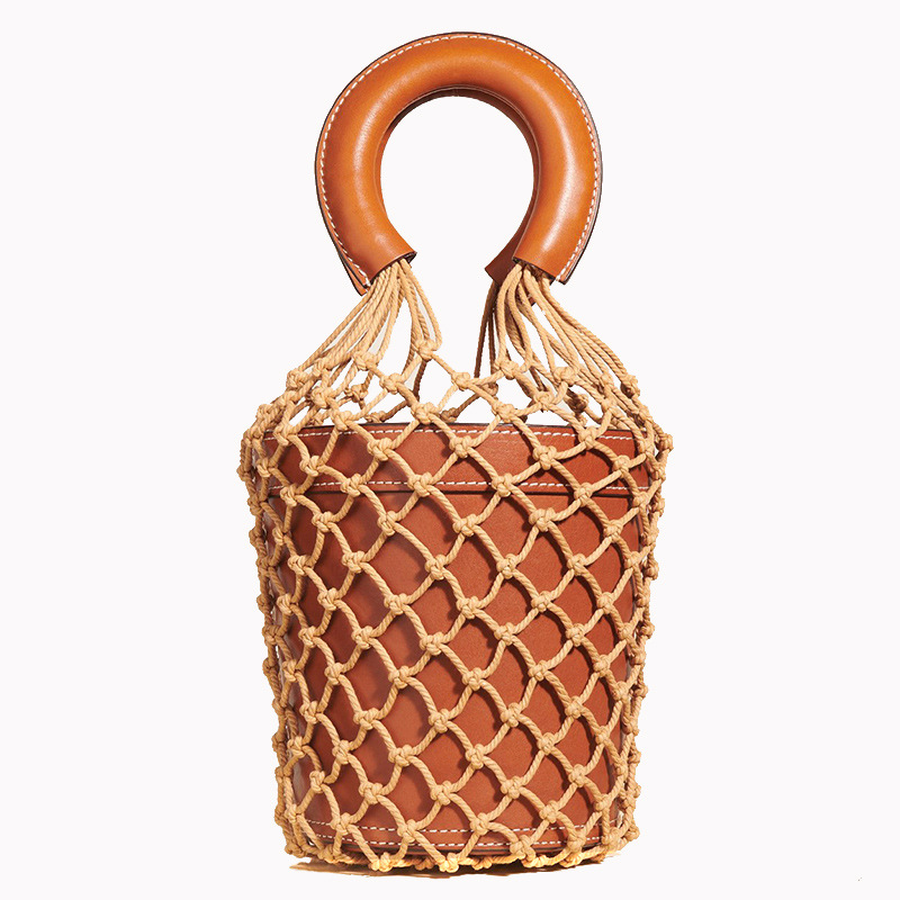 Sacs de luxe design seaux sacs évider femmes fourre-tout mode cuir Pu dames sacs à main tissé corde été plage voyage sac à main 2019