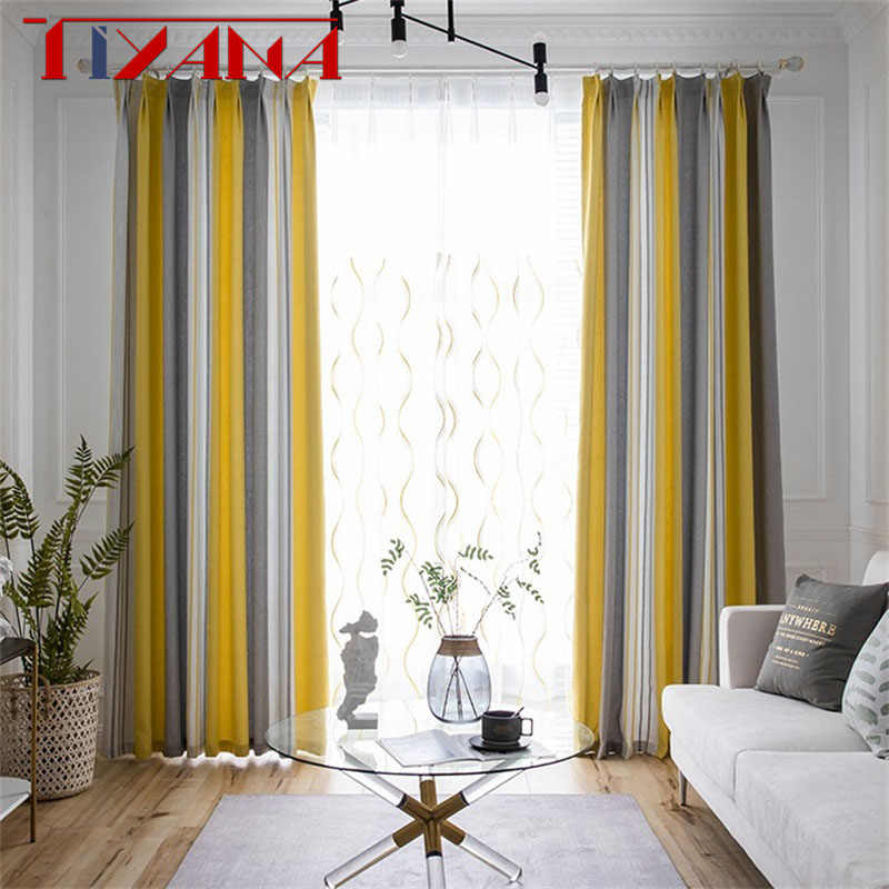 Modern Yellow & Gray Striped Blackout Curtain Finished Drapes For Living Room Bedroom Tulle Custom Kitchen Door Curtains T237#4