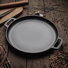 30 см/33 см/35 см чугунная сковорода для жарки и барбекю жаровня для мяса круглый без покрытия кастрюля для приготовления пиццы блинов гриль Flate дном
