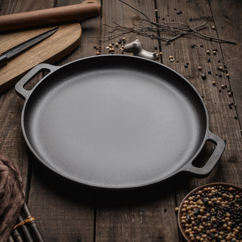 30cm/33cm/35cm Cast Iron Steak Pan BBQ Roasting Meat Roaster Round Uncoated Cooking Pot Pizza Pancake Griddles Flate Bottom