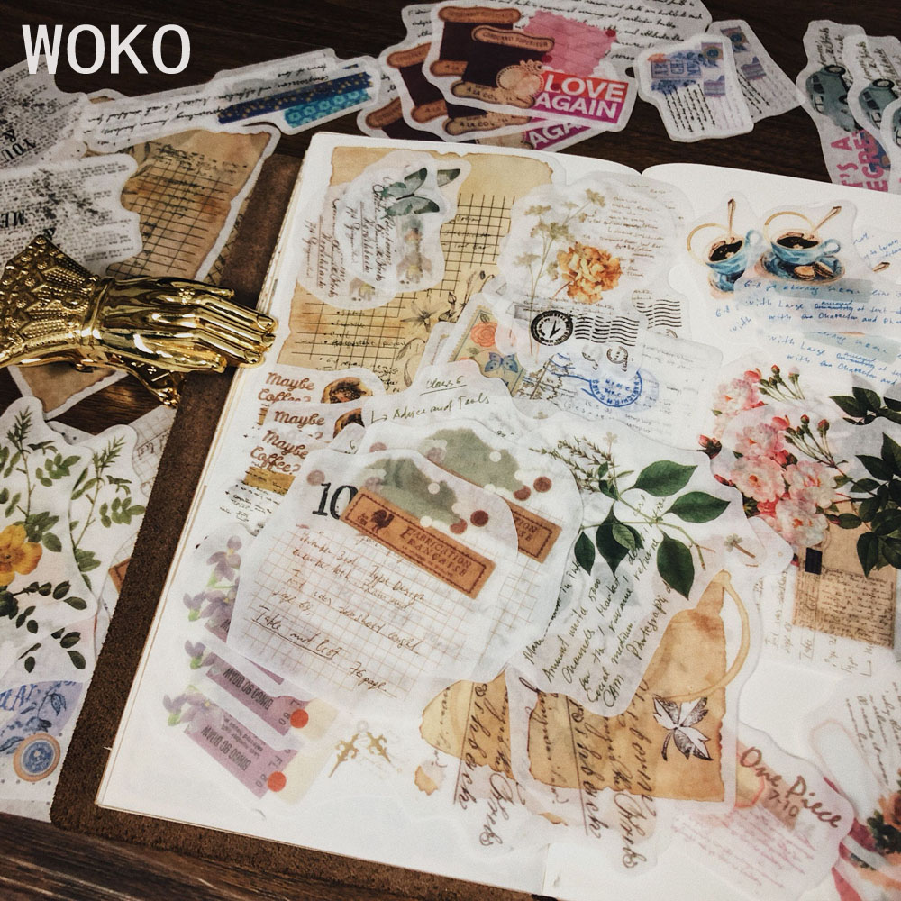 WOKO 60pcs/pack Retro Junk Journal Material Vintage Flowers Letter English Words Plant Decoration Washi Sticker DIY Scrapbooking