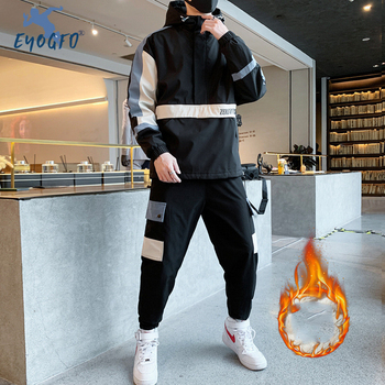 Winter Men's Sports Set Warm Thick Hooded Jacket + Pants Two-piece Suit Men's Coat Sportswear Men's Comprehensive Sports Sets