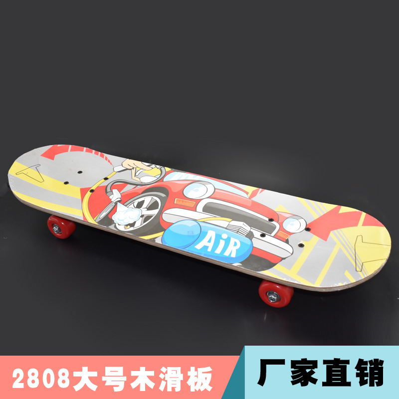 Manufacturers Direct Selling 2808 Large Size Skateboard PVC Wheel Double Snubby Wooden Skateboard Children Baby Teenager Four-wh