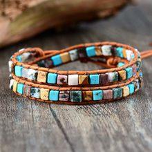 Frauen Leder Armbänder High-End-Mix Natürliche Steine 2 Stränge Wrap Armbänder Vintage Weben Bead Armband Dropshipping