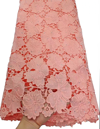 Peach African Cord Lace Fabric Milk Silk Water Soluble Dress Lace Stones 2019 High Quality Nigerian Guipure Lace Fabric  ETB64