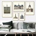 Триптих, классический Европейский дворец, известный пейзаж, художественные принты, постер, архитектура, настенные картины, холст, живопись, ...