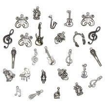 50 unids/lote colgante de instrumentos de plata Vintage mezcla de encantos musicales guitarra micrófono violín DIY fabricación de joyas