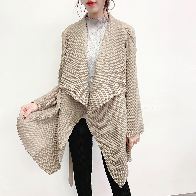 LANMREM 2020 New Spring Summer Solid Color Lapel Mid-length Pleated Windbreaker Women Korea Loose Office Lady Coat Tide PD916