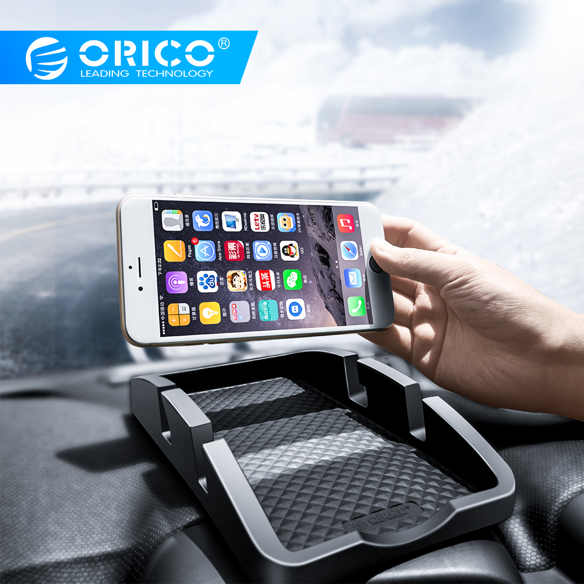 ORICO Anti Slip Car Dashboard Phone Holder Car Smartphone Support Non Slip Pad Phone Stand Desk Mount Dual Slot Bracket