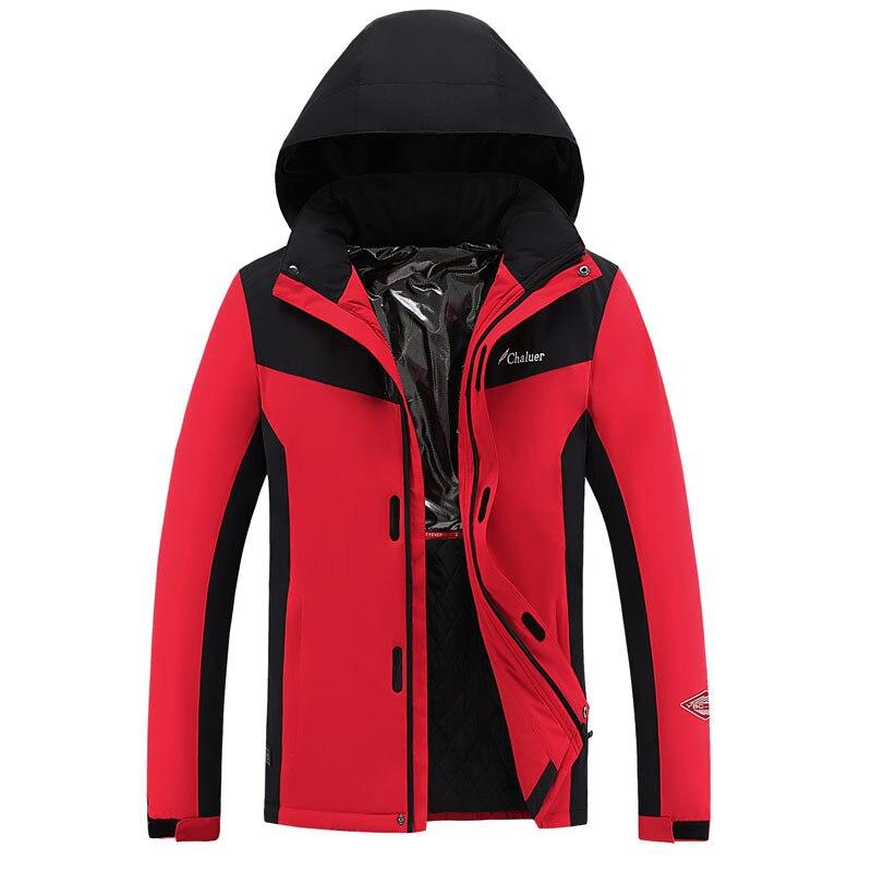 Inverno com capuz aquecido jaquetas homens mulher