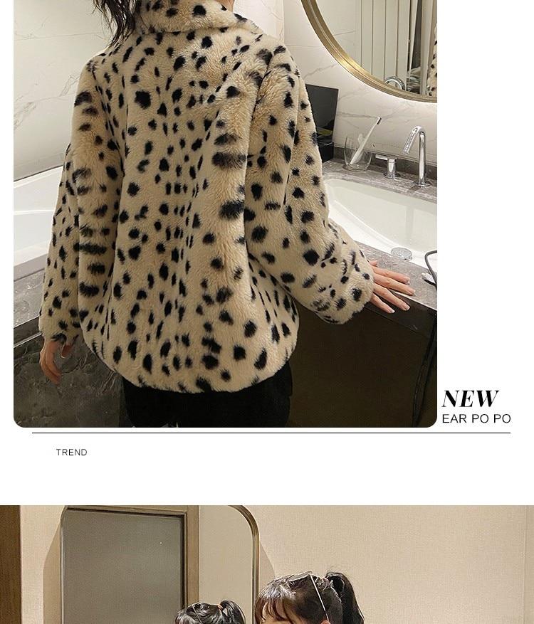 Hac840fc0736845a9afd2b853caf8a3cdy Plush jacket women winter short 2021 new Korean version of loose lamb wool faux fur leopard print fur coat women winter