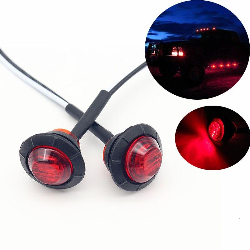2 шт. водонепроницаемый красный боковой габаритный индикатор светильник светодиодный 12 В лампа в форме пули 3/4