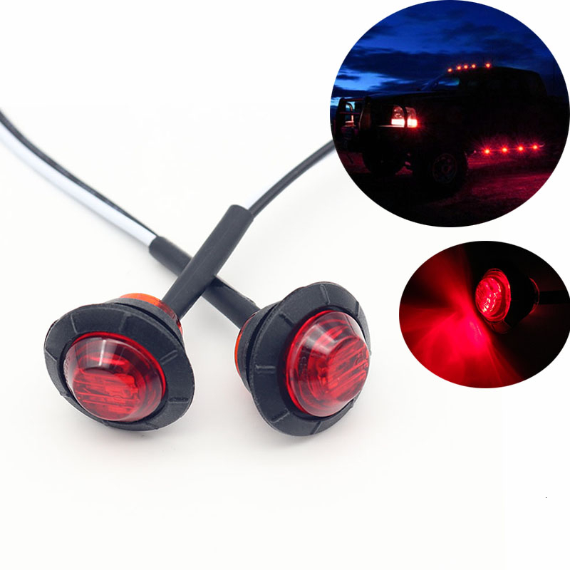 2pcs Waterproof Red Side Marker Indicators Light LED 12V Bullet Lamp 3/4