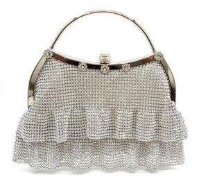Серебряная металлическая сетка, вечерняя сумка-клатч, женские вечерние сумки, модная сумка, кошелек для сотового телефона, вечерние сумки д...