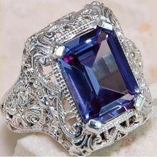 Женское Винтажное кольцо из серебра 2019 пробы с синим Цирконом