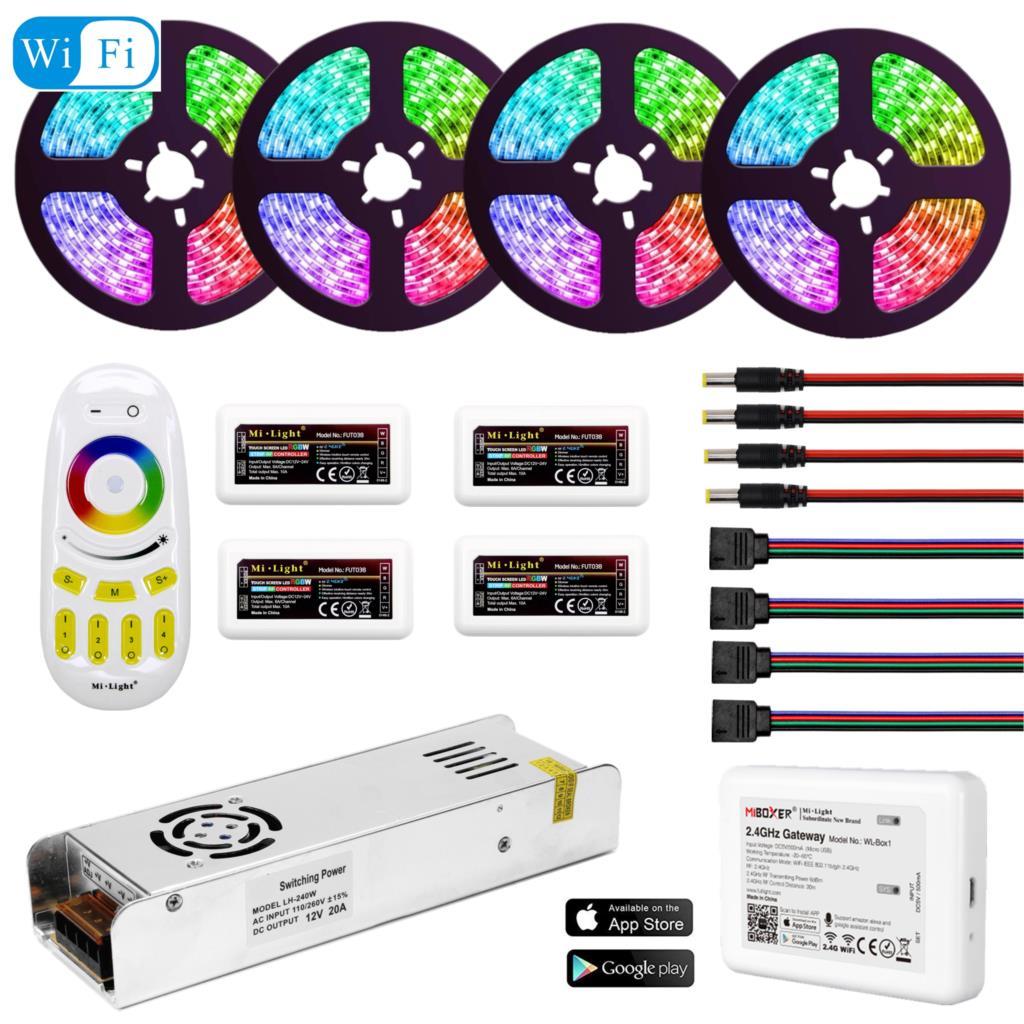 5050 RGBW RGBWW RGB Mi Light WIFI LED Strip Waterproof 5M 10M 15M 20M DC 12V LED Light 60led/m With RF Remote Controller Power-in LED Strips from Lights & Lighting