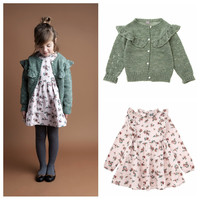 3 8Y 2019 Children Girls Floral Ruffle Dress and Cardigan Match Brand Elegant Girls Fall Winter Clothes Kid Beautiful Dresses