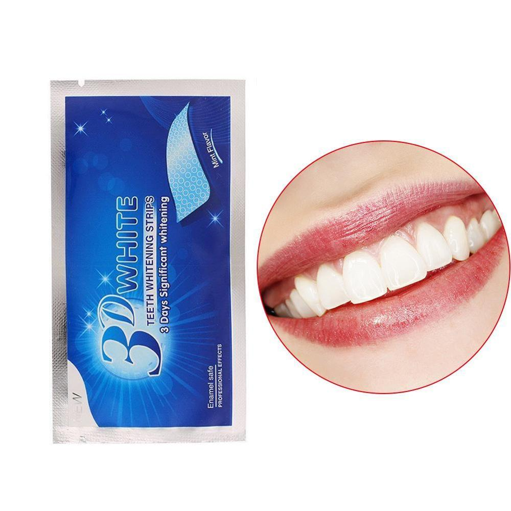 14Pcs/7Pair 3D White Gel Teeth Whitening Strips Oral Hygiene Care Double Elastic Teeth Strips Whitening Dental Bleaching Tools