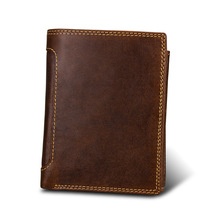 New Cowhide Vintage Wallet Luxury Mens Genuine Leather Bifold Hasp Credit ID Card Holder Purse Short Long Style