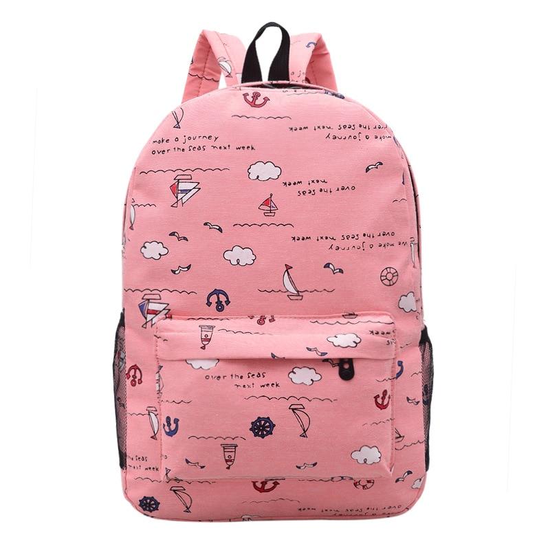 2019 Solid Cartoon Canvas Backpack Girls Simple School Bags For Women Teenage College Wind  Female Student Travel Bags Rucksack