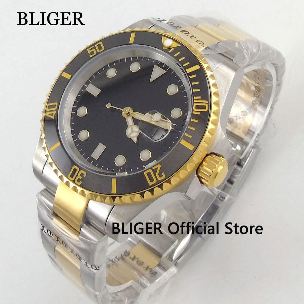 40MM BLIGER Sapphire Glass Sterile Black Dial Gold Plated Men's Watch Ceramic Bezel Luminous Automatic Movement Men's Watch 136
