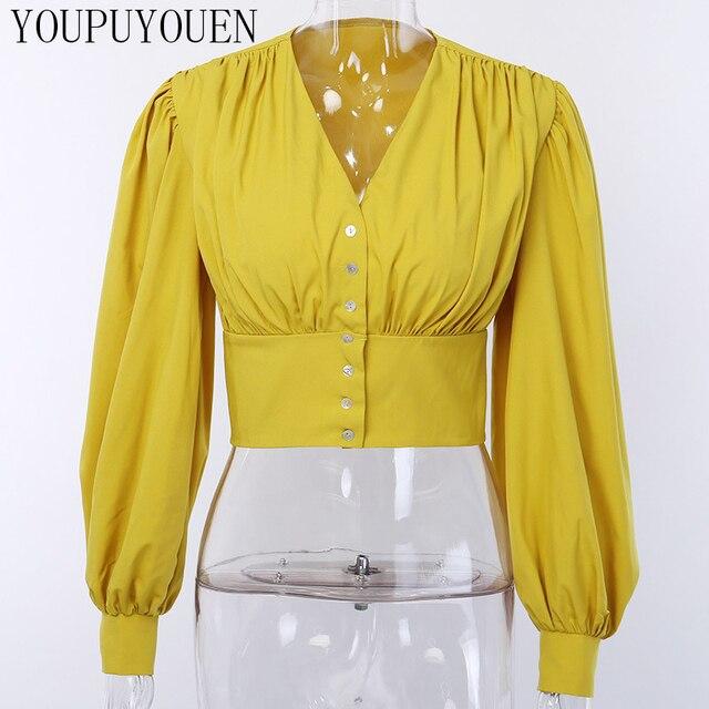 Women Lantern Long Sleeve Blouse Crop Top V-neck Casual Party Elegant Shirt Woman Fashion Clothes Summer Yellow Short Blouses 8