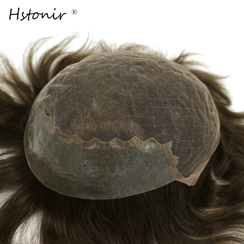 Hstonir Bella Light Density Swiss Lace Toupee Men's Wigs Hair Replacment Man Wig With Lace Front Indian Remy Hair H045