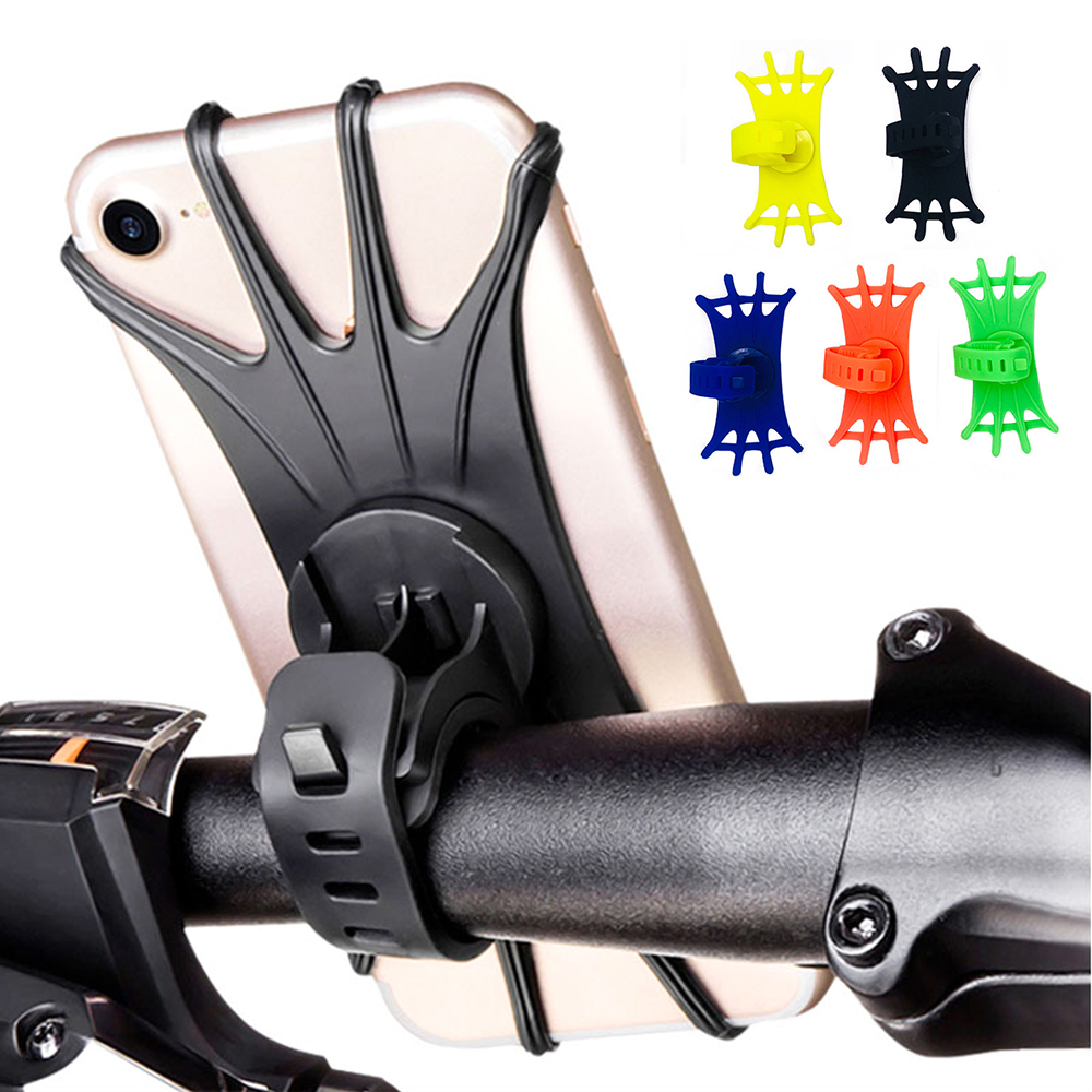 Universal Silicone Bike Phone Holder Motorcycle Bicycle Mobile CellPhone Stand Handlebar Clip Holder For iPhone Samsung