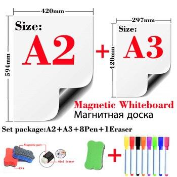 2 pcs 마그네틱 화이트 보드 냉장고 스티커 벽 스티커 어린이 드로잉 보드 드라이 지우기 화이트 보드 메시지 보드 a2 + a3 패키지