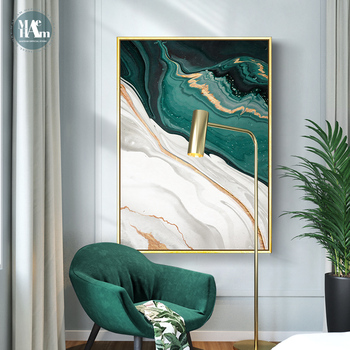 Modern Abstract Gold foil lines Green Canvas Art Paintings For Living Room Bedroom Posters And Prints Wall Poster Home Decor - discount item  46% OFF Home Decor
