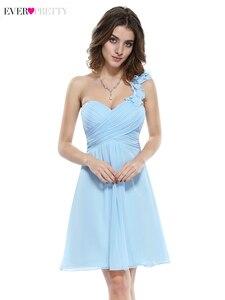 Image 2 - Élégant court robes de demoiselle dhonneur jamais jolie a ligne chérie une épaule Simple en mousseline de soie robes dinvité de mariage Sukienki 2020