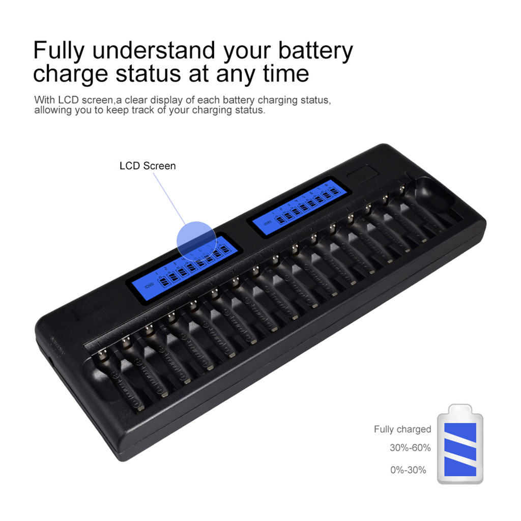 16 fentes LCD affichage chargeur de batterie intelligent pour 1.2V AA/AAA Ni-MH ni-cd batterie Rechargeable 9V Ni-MH ni-cd Li-ion batterie # G3