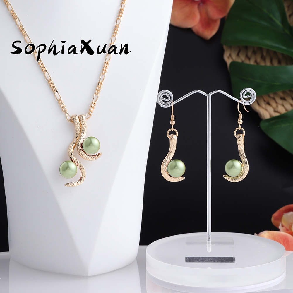 SophiaXuan Hawaiian Jewelry Sets New Design Multicolor Pearl Gold Pendants Earrings Necklaces Sets Jeweler for Women Gifts Party