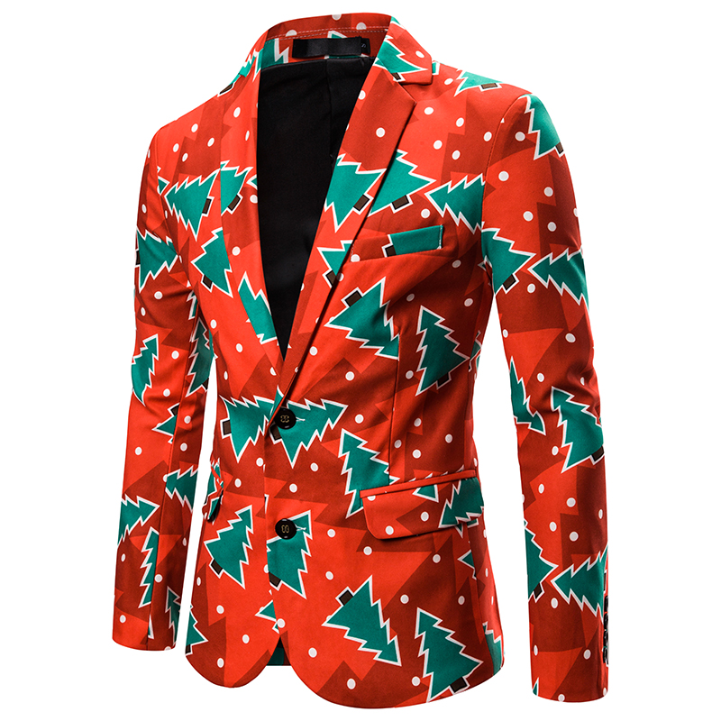 WENYUJH 2019 Winter Newest Christmas Party Deep V-Neck Suits Coat For Men Slim Fit Suit Jackets Casual Fashion Party Christmas