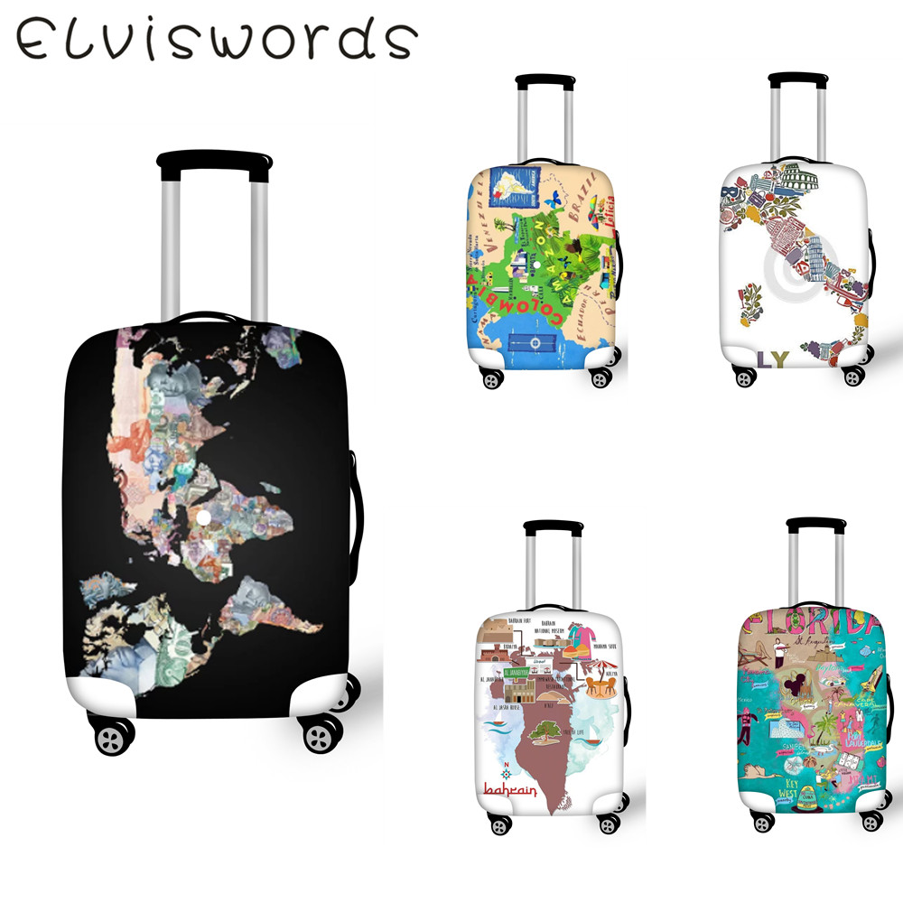 ELVIESWORDS Thick Elastic dust Luggage Cover World Map Design Travel accessories  For Size 18-32 inch Trolley suitcase cover