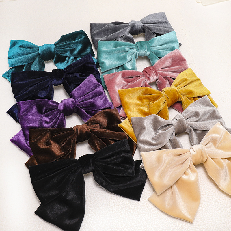 2020 Velvet Barrettes 2 Level Big Bow Pearl Hair Clip Korean Ponytail Clip Hairgrips For Women Autumn And Winter Hair Accessorie