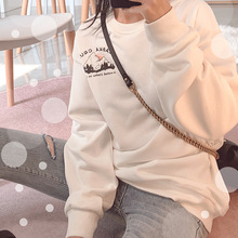 Autumn 2019 New Women's Clothing Solid Color Terry Fabric Printed Comfortable Clothing Pullovers Print Black Sweatshirt Women in autumn 2019 the new solid color medium long cap head clothing loose and thin dress women black pullovers sweatshirt women