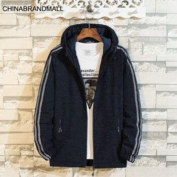 Men Plus Fat Plus Size With Cap Windbreaker Thin Coat Male Leisure Jacket