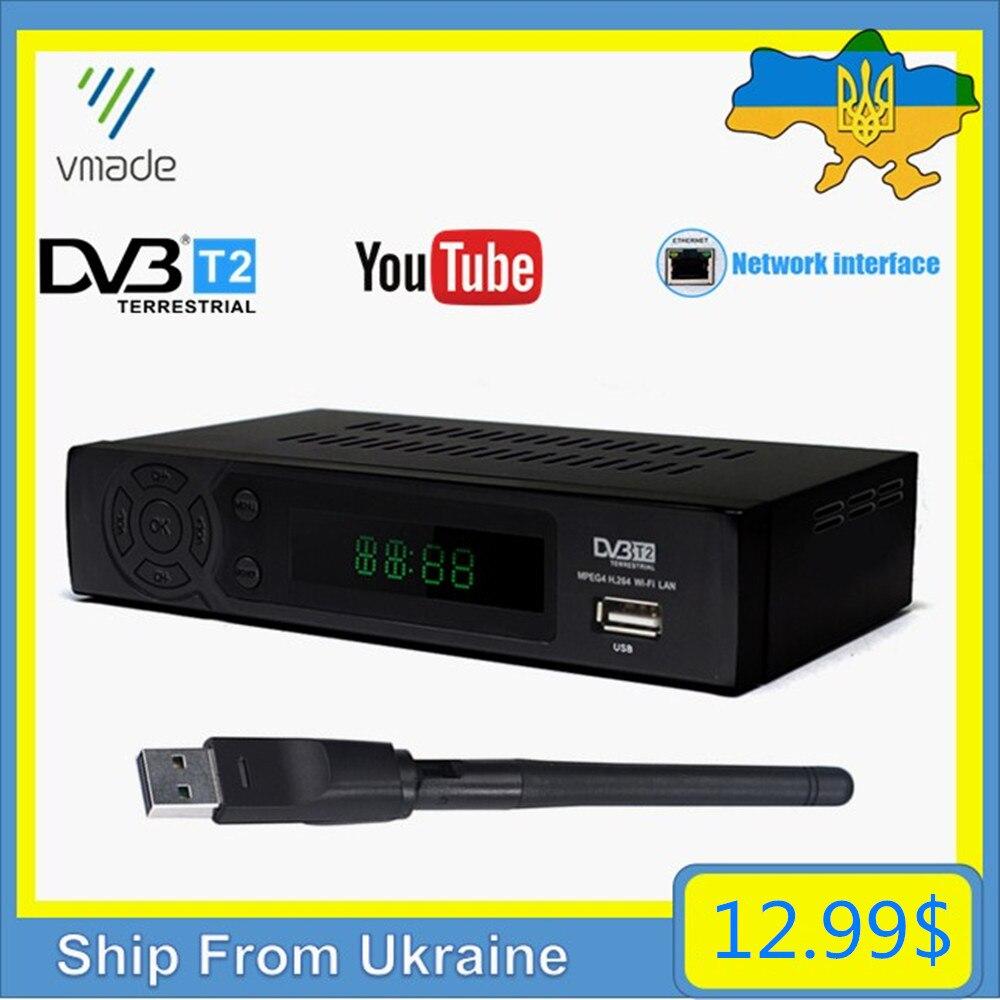 Hot Sale Ukraine TV Tuner Decoder DVB-T Digital Terrestrial Receiver DVB-T2 Built-in RJ45 Network Support Youtube PVR USB