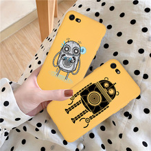 Candy Yellow Phone Case Coque For iPhone xr 7 8 6 6S Plus x XS MAX 5 5S Cartoon Cute Robot Phone Cover For iPhone 8 7 Plus
