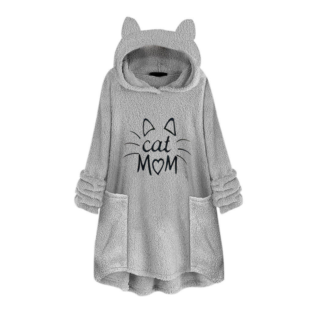 Harajuku Hoodie Sweatshirt Womens Fleece Embroidery Cat Ear Cat Mom Printed Blouse Top Warm Oversized Pockets Jackets Hoody Coat