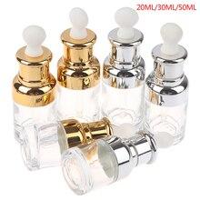 Empty Dropper Bottle essential oil Glass Aromatherapy Liquid transparent 20-50ml Drop for massage Pipette Bottles Refillable