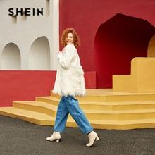 SHEIN Office Lady Solid Pearl Abbellito Faux Fur Collo Rotondo Giacca in Autunno Abbigliamento Da Lavoro casual Delle Donne del Cappotto E Tuta Sportiva
