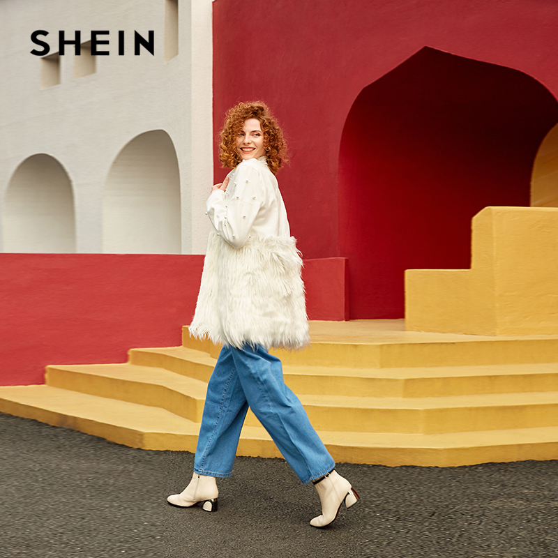 SHEIN Office Lady Solid Pearl Embellished Faux Fur Round Neck Jacket Autumn Workwear Casual Women Coat And Outerwear