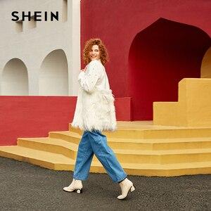 Image 1 - SHEIN Контрастное Пальто С Бусинами И Эко Мехом Стильное Пальто