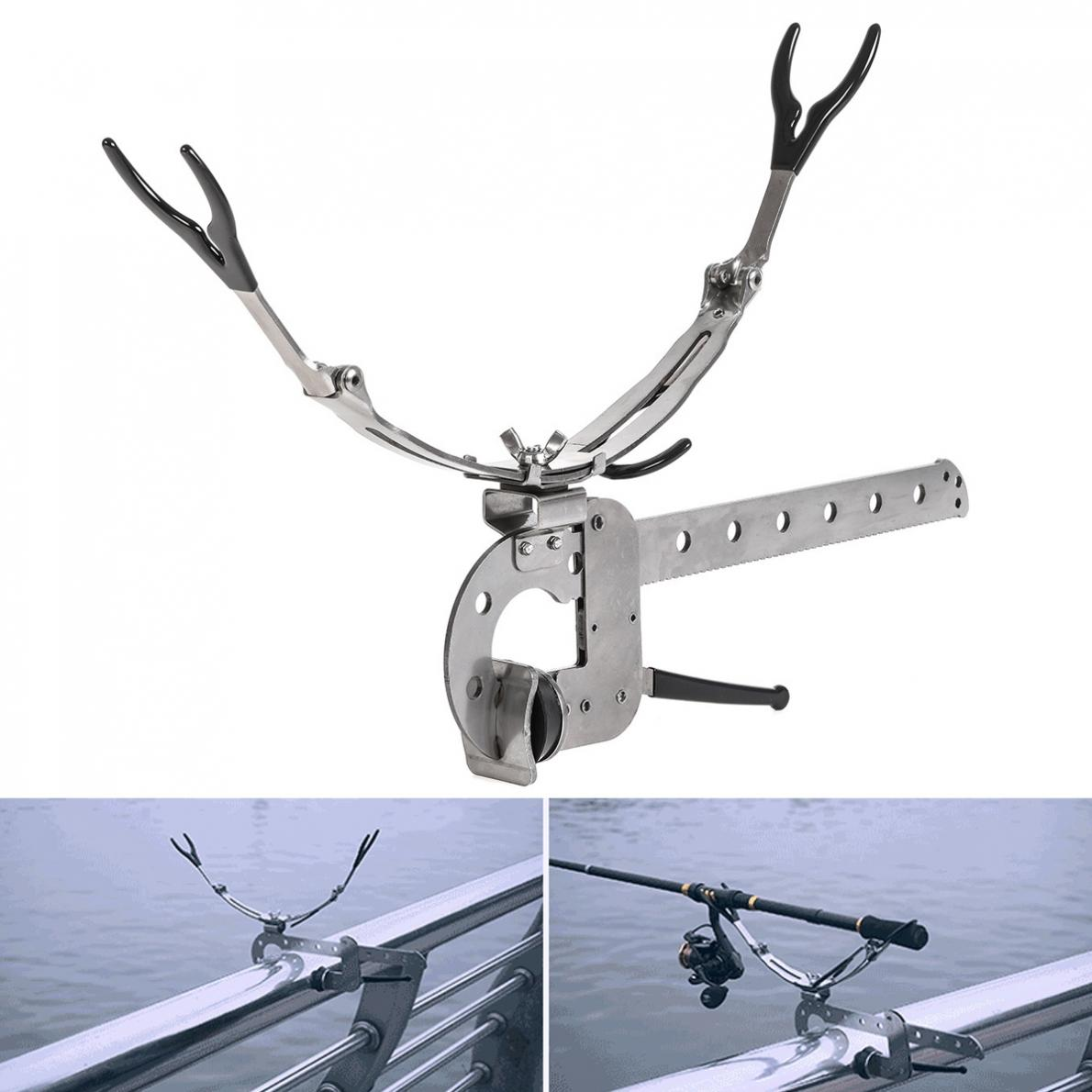 Stainless Steel Fishing Rod Support Stand Clamp Holder for Boat Canoe Kayak