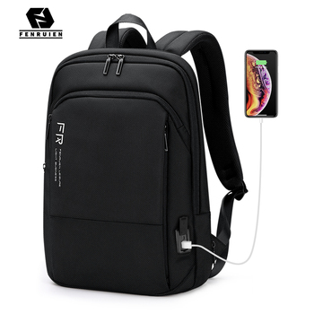 Fenruien Men Backpack Business Expandable Backpacking 15.6 Inch Laptop Backpacks Travel Waterproof USB Charging Male School Bags fenruien brand 17 inch laptop backpack men usb charging travel backpacking school bag nylon waterproof anti theft backpacks
